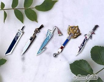Final Fantasy Weapons Enamel Pins - FF7 Buster Sword - FF8 Gunblade - FFX Brotherhood Yuna Staff - FFXIII Lightning Gunblade
