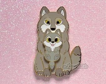 Mama Wolf Pin - Wolf Hard Enamel Pin Momma Wolf Mom