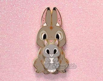 Mama bunny and baby bunny - Hard Enamel Pin Momma Rabbit Mom