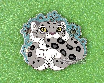 Snow Leopard Hard Enamel Pin - Chonky Snow Leopard