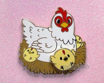 Mama Chicken and Spinning Chick - Hard Enamel Pin Momma Hen Chicken Mom