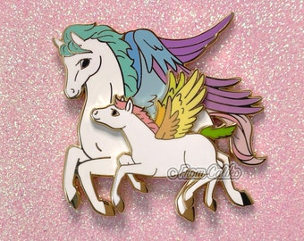 Mama Pegasus and Swinging Baby - Hard Enamel Pin Momma Horse Unicorn Mom
