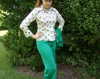 1970s Green original trousers and jacket with a matching shirt