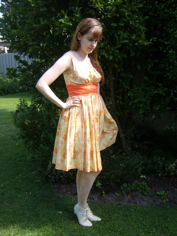 1990's does 1950's Orange Floral Dress with Cumber