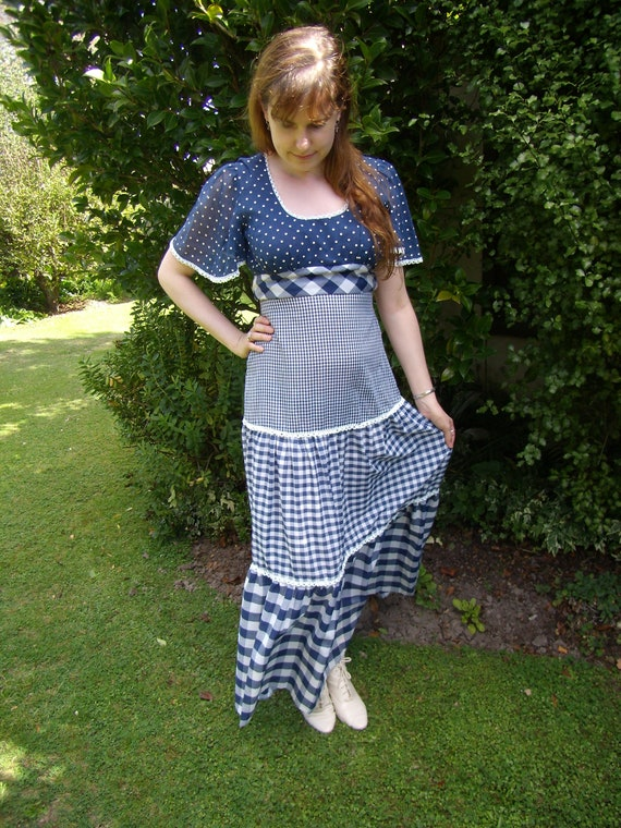 1970's Young Innocent Blue Check Gingham Dress