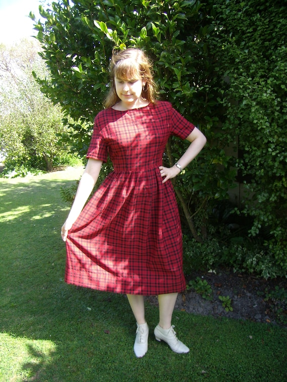 1980's does 1950's red plaid dress