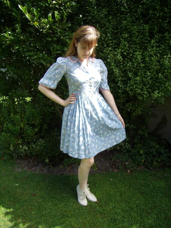 1930s Blue Floral Dust Bowl Era Feedsack Dress