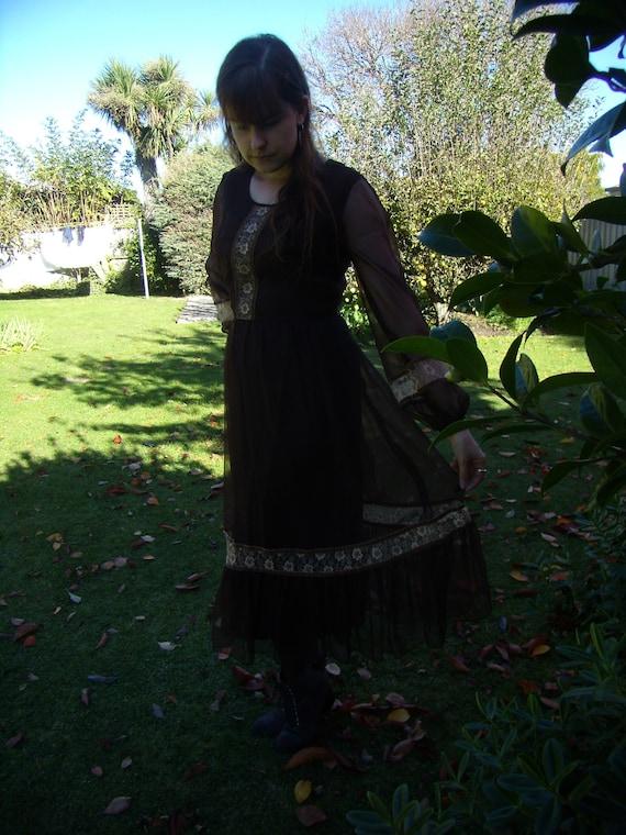 Brown 1970's Peasant Style Dress