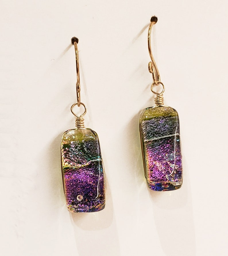 Green and Purple Dichroic Fused Glass Earrings with 14k Gold image 0