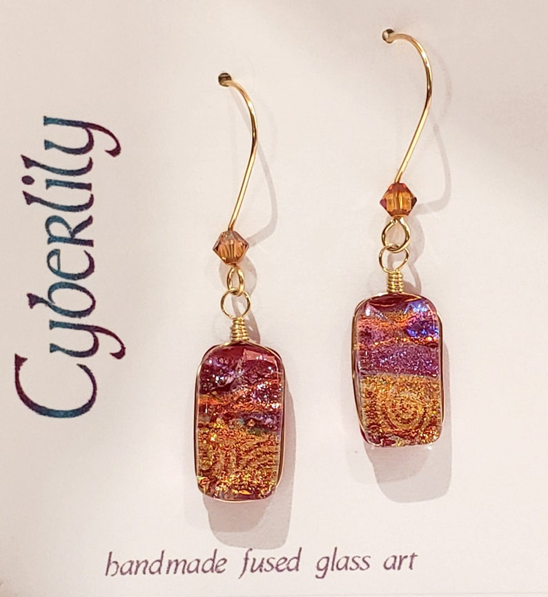 Red Dichroic Fused Glass Earrings with 14k Gold Filled Wires  image 0