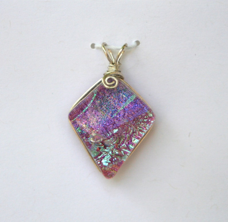 Mauve Aqua Dichroic Glass Pendant with Sterling Silver Wire image 0