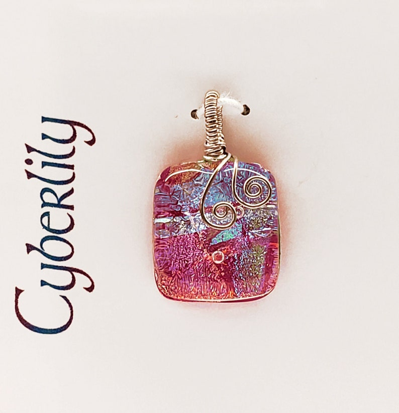 Dark Pink Dichroic Fused Glass Pendant with Sterling Silver image 0
