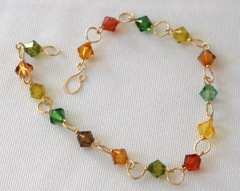 Delicate Bracelet in Gold Fill and Autumn Colors - Cyberlily