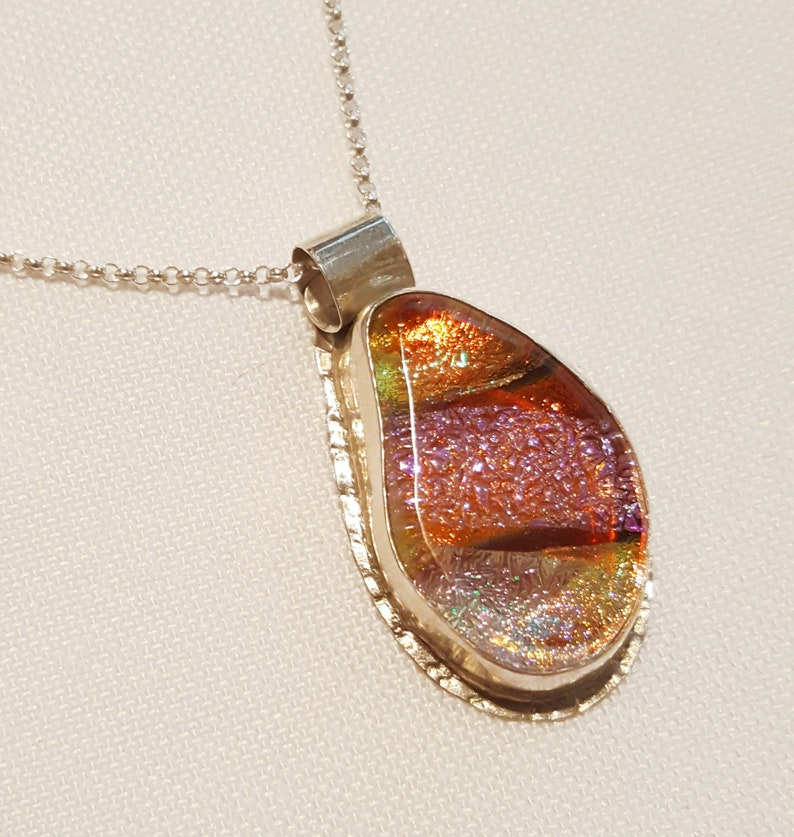 Pink and Coral Glass Pendant with Fine Silver Bezel  image 0