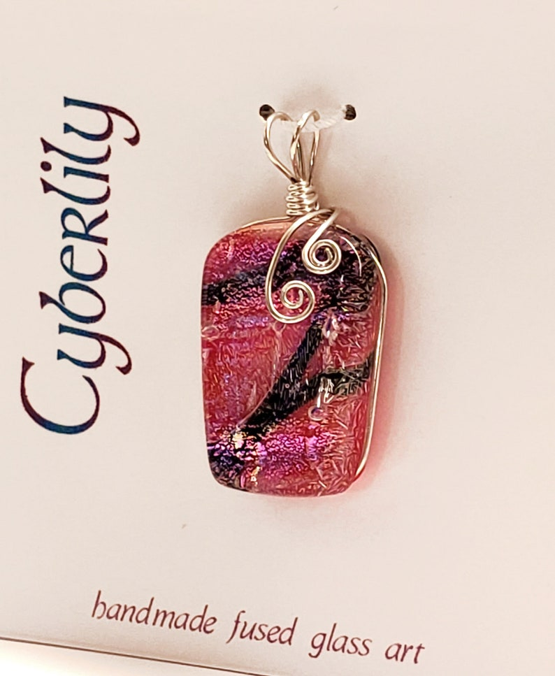 Rose Red Dichroic Fused Glass Pendant with Black Accents and image 0