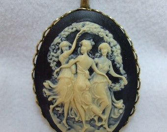 Vintage Cameo Pendant Mythological Three  Graces, sisters Carved Lucite Necklace Reproduction
