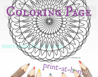 Coloring Page Adult Mandala Instant Download Book Printable Colouring Art Therapy Digital Illustration