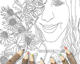 Adult Coloring Page Sheet Printable Decor Goddess Art Butterfly Flower Girl Portrait Pages Therapy