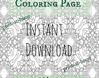 Adult Coloring Page Download Celtic Knot Work Zentangle Printable Sheet
