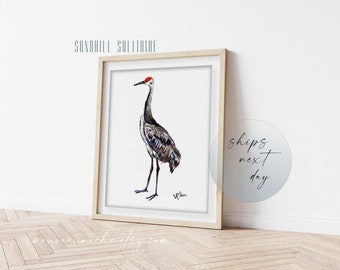 Sandhill Crane Art Print, Coastal Decor Bird Wall Art Prints, Meaningful Unique Gift for Bird Lovers, Minimalist Decor