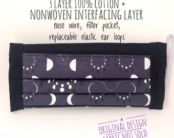 Moon Phase Celestial Witchy Face Mask w/ Filter Pocket, 3 Layer Cotton Face Mask + Nonwoven Interfacing, Unique Gifts