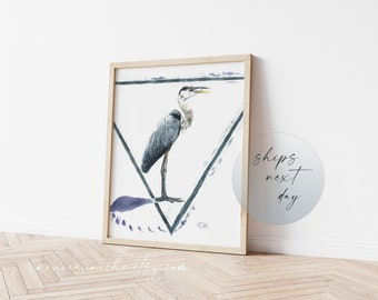 Blue Heron Watercolor Print, Coastal Decor, Coastal Bird Wall Art, Nautical Animals, Minimal Decor, bird lover gift