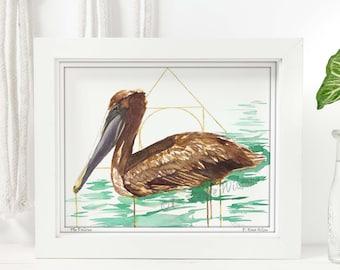 Pelican Decor, Watercolor Bird Painting, Coastal Decor, Bird Artwork, Living Room Wall Art Prints, Minimal Decor