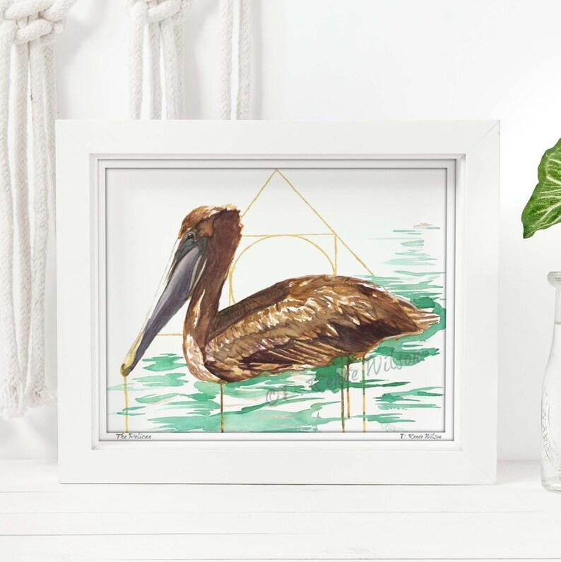 Pelican Decor Watercolor Bird Painting Coastal Decor Bird image 0