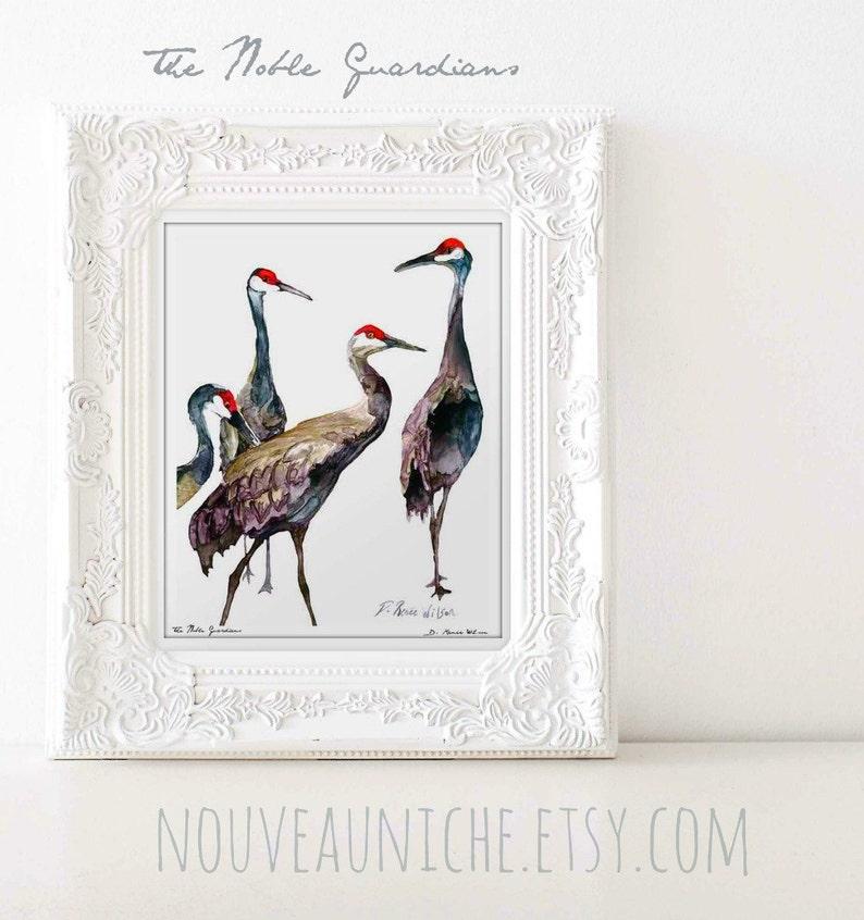 Crane Painting Sandhill Cranes Art Limited Edition Print image 0
