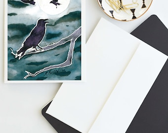 Crow Moon Art Blank Note Card, Witchy Notecards, Pagan Greeting Cards