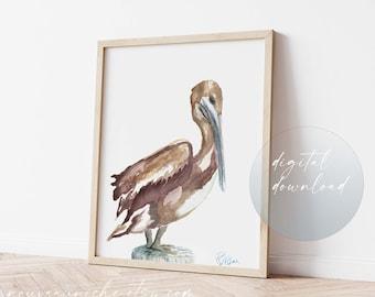 Pelican Art, Minimal Decor, Bird Printable Wall Art, Bird Printable, Beach House Decor, Coastal Decor, Unique Gift