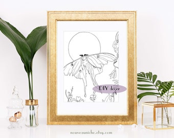 Luna Moth, Printable Gift, Coloring Page, Coloring Sheet, Celestial Art, Witchy Decor, Digital Coloring Page, Spiritual Decor, Moon