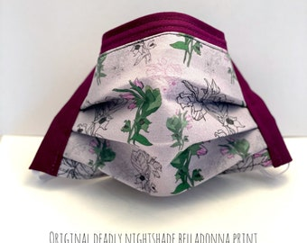 Belladonna Witchy Mask, Poison Plants Fabric, Filter Pocket Face Mask, 3 Layer Cotton + Interfacing, Nose Wire, Witchy Gifts