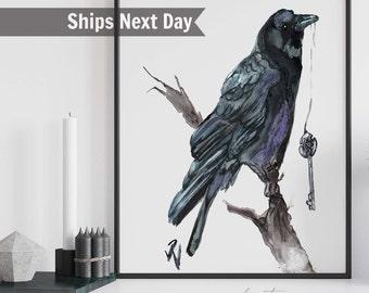Crow Art, Watercolor Bird Prints, Spiritual Artwork, Goddess Art, Unique Gift Witchy Decor, Goddess Art
