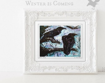 Crow Wall Art Bird Painting, Raven Painting, Black Bird Artwork, Pagan Art, Witchy Gifts Under 30