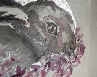 Hare Painting, Pink Moon Watercolor Original Small Paintings, Goddess Art, Celestial Watercolor, Witchy Decor