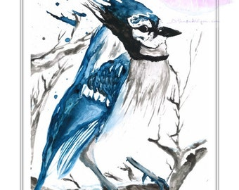 Blue Jay Watercolor Bird Painting, Wildlife Wall Art Prints, Meaningful Gifts, Spirit Animal Art, Sky Blue Minimal Decor