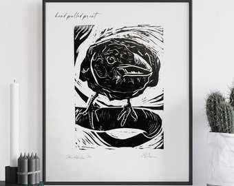 Crow Art, Linocut Print Limited Edition, Hand Pulled Block Print Hosho Paper, Raven Bird Prints, Witchy Gifts Office Decor Wall Art