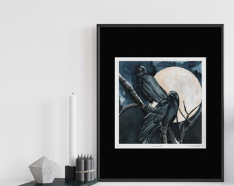 Crows Art, Full Moon Celestial Watercolor Print, Goddess Art Morrigan, Witchy Decor, Unique Gift for Pagans