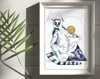 Ring Tailed Lemur Print, Animal Wall Art Bedroom, Celestial Watercolor, Witchy Decor Summer Solstice