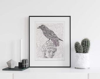 Raven Poe Handwritten Calligram Word Art Print Bird Lover Gift Signed Print English Teacher Gift Literary Prints