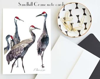 Sandhill Crane Notecards, Unique Stationery, Florida Bird Cards, Florida Art, Wetlands Watercolor Bird Painting, Bird Stationery Blank Card
