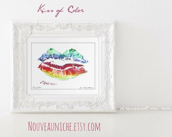 Watercolor Lips Print Lipstick Art Prints Rainbow Lips LGBTQ Decor Home Office Decor Painting Coming Out Pride Unique Gift For Friend