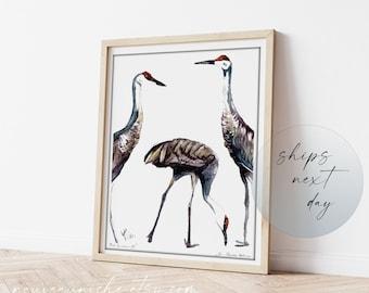 Sandhill Crane Art, Crane Painting Limited Edition Print, Coastal Bird Decor, Minimal Decor