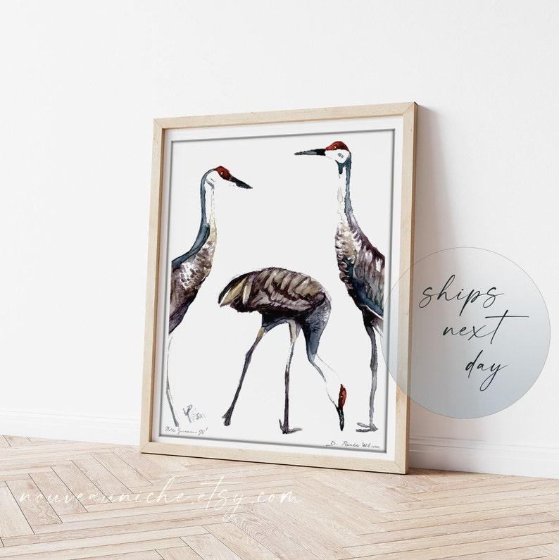 Sandhill Crane Art Crane Painting Limited Edition Print image 0