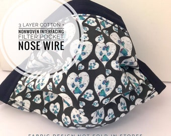 Fabric Mask with Filter Pocket, Washable Mask, 3 Layer Cotton + Interfacing, Paw Prints Unique Gift, 4 layer