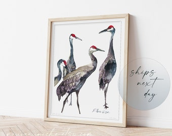 Crane Painting, Sandhill Cranes Art Limited Edition Print, Coastal Decor Bird Wall Art Prints, Unique Meaningful Gifts for Him