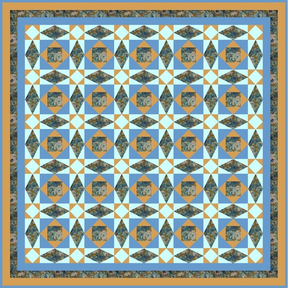 SUNSET BEACH Quilt-Addicts Pre-cut Patchwork Quilt Kit or Finished Quilt 76 x 76 Double or 58 x 58 Lap
