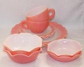 10-Piece Hazel Atlas Ripple Pink Crinoline Dinnerware Set