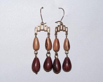 Brown Wood Bead Tiered Dangle Pierced Earrings